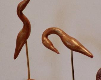 Miniature ornamental golden Cranes, set of two