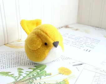 Yellow Bird Stuffed Animal Childrens Handmade Toy Plush Yellow Bird Kids Fleece Bird
