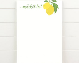 Lemon Market List - 50 Sheet Everyday Notepad To Do List Grocery List
