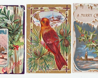 3 Vintage Christmas Postcards - over 100 years old - Great for Display