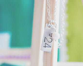 Personalized Sports Jersey Number Necklace  {Hand Stamped Sterling Silver}