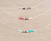 Minimalist Silver Delicate Short Necklace with Tiny Beads // Thin Layering Necklace // Colorful & Simple Boho Necklace