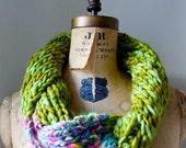 Bohemian knit loop infinity scarf. Chartreuse. Pink. Neon. Merino wool. Handmade knit wear. Circle scarf.