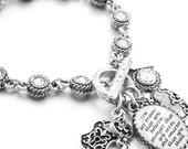 Personalized Crystal Charm Bracelet, Personalized Quote, Personalized Charms, Choice of Crystals