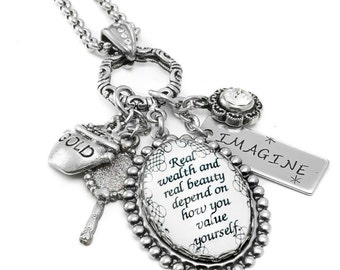 Charm Necklace, Charm Glass Pendant, Silver Inspirational Quotes Jewelry, with stainless steel chain
