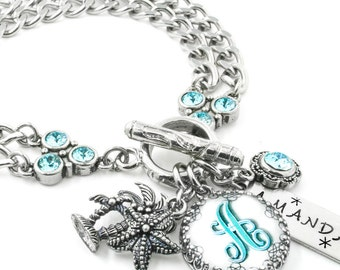 Initial Bracelet - Aquamarine Birthstone - Monogram Bracelet - Personalized Birthstone Jewelry - March Birthstone - Aquamarine Bracelet