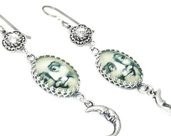 Silver Moon Earrings - Man in the Moon - Photo Jewelry - Vintage Images - Glass Drop Earrings