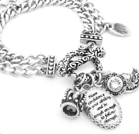 Inspirational Bracelet, Silver Inspirational Jewelry, Quote Bracelet, Have Confidence in Your Ability