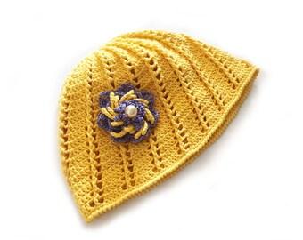Yellow Cotton Beanie Hat, Crochet Lace Summer Hat, Womens Beach Hat, Beach Cap with Flower Brooch