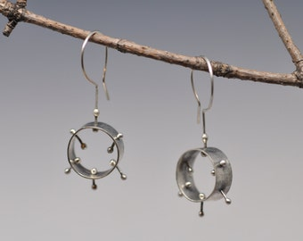 beady kinetic earrings recycled  sterling silver hooks