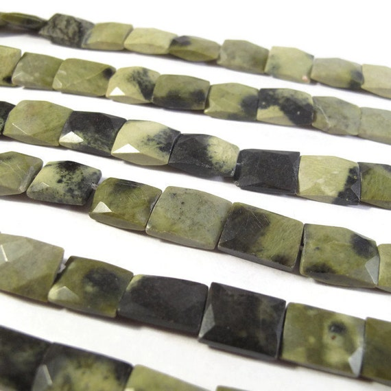 Green Jasper Beads, Natural Chita Jasper Chicklets, 15 Inch Strand, 20 Natural Gemstones, Rectangle Beads (S-Ja3)