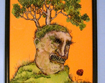 strange art,  ,original,sandy mastroni , tree man, reverse glass painting , bizarre landscape ,creepy, ready to hang, 11 x 14 inches
