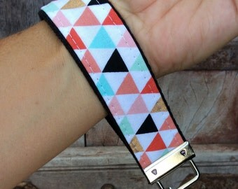 READY TO SHIP-Beautiful Key Fob/Keychain/Wristlet-Multi color Triangles on Black-1