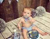 Boy 1st Birthday Outfit - Hat, bow tie, diaper cover, and banner - Blue gingham, navy, white, grey - free personalization
