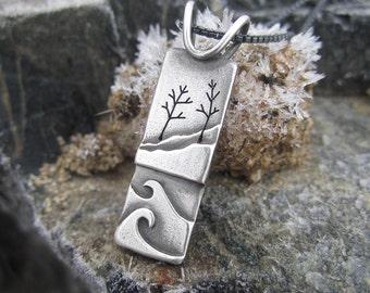Handmade Wetmore Landing Shoreline Sterling Silver Pendant