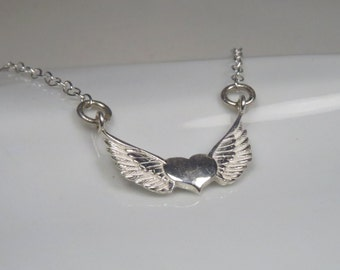 Winged heart necklace sterling silver, Angel wing necklace, guardian angel necklace