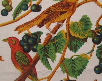 Six Vintage Cotton Napkins - Colorful Bird Napkins - Birds and Flowers