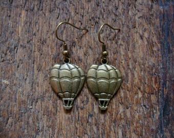 hot air balloon earrings   brass, small charm, dangle