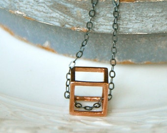 Rose gold cube necklace/ geometrical square necklace /oxidized sterling silver necklace /charm necklace. Tiedupmemories