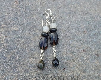 Sterling Dangle Earrings with Semiprecious Gems - Smoky Quartz, Rainbow Moonstone and Obsidian