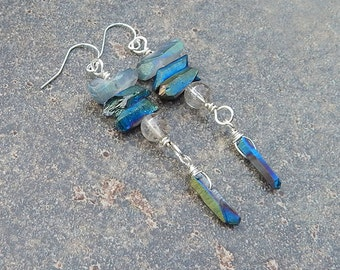 Stacking Rocks - Blue Green Quartz Crystal And Sterling Silver Earrings
