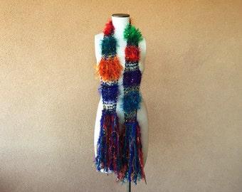 Jewel Tone Party Scarf Hand Knit Vivid (Green, Red, Blue, Purple, Orange) Festive Lightweight Fashion Accessories