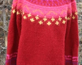 Pink Ecuador (?) sweater L XL wool hippie sweater