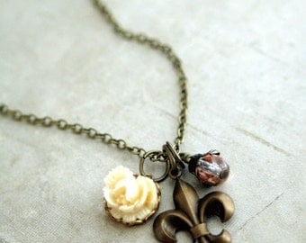 Fleur de Lis and Rose Necklace