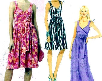 Wrapped front dress Flowing evening wear cocktail frock Mother of the Bride sewing pattern Butterick 5486 Sz 8 to 14 Uncut