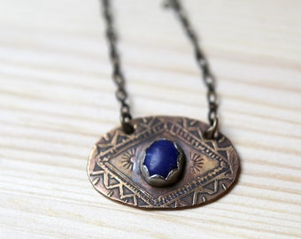 Lapis Lazuli Etched Necklace