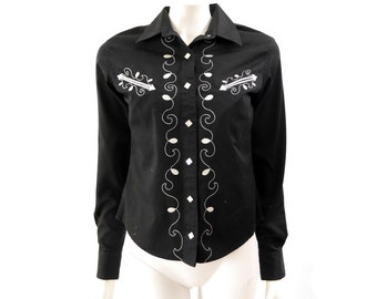 Vintage Western Style Embroidered Rodeo Shirt // Black Long Sleeve // Size s // 126