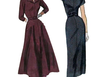 1940s Wiggle Dress or Dress w Overskirt Simplicity 2954 Vintage 40s Rockabilly Sewing Pattern Size 16 Bust 34 UNCUT