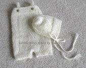 Baby Romper & Hat , Mohair Bonnet, Newborn Photo Props, U Choose Color Size