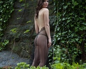 Margot backless gown and panty in sheer black netting with French lace - sexy wedding lingerie for brides, bridal trousseau