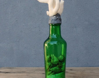 Coastal Bottle Sea Coral, Seashells, Sand, Green Glass Bottle