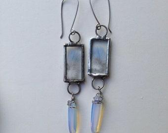 Feather Magic Glowing Opalite Earrings