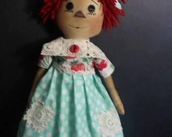 "Primitive Raggedy Annie ""Annie Plain and Tall"" PDF sewing pattern 22 inches tall"