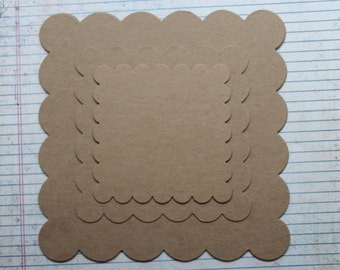 Scalloped square chipboard die cuts [choose 4 1/8, 5 1/4 or 7 1/2 inch]