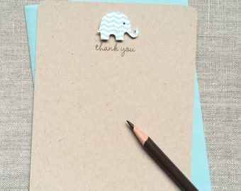 Set of 16 - Baby Boy Baby Chevron Elephant Baby Shower Thank-You Cards