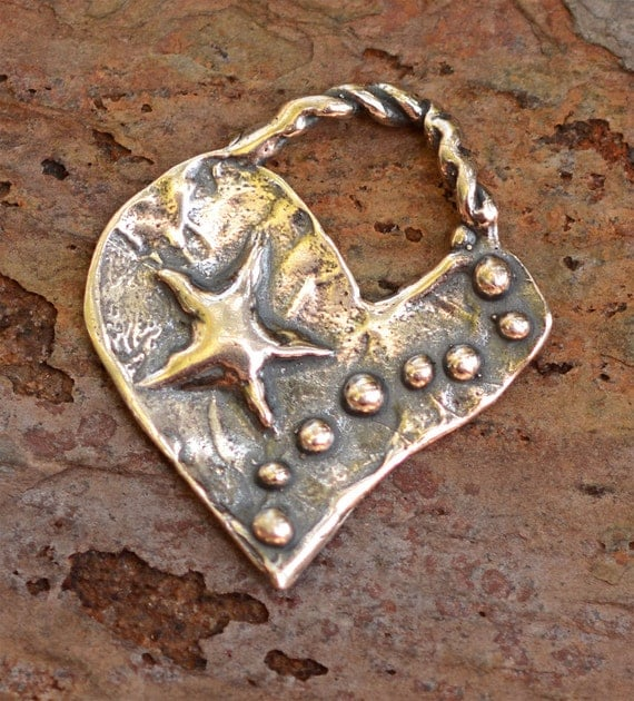 Rustic Star and Dotted Heart Sterling Silver Pendant