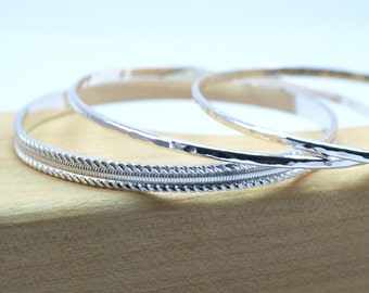 Sterling Silver Bangle Bracelet Set / Bangles Set of 3 / Twisted Wire Design Bangle Bracelet Set