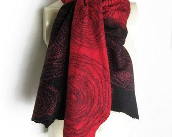 Hand Felted Scarf Merino Wool, Tussah Silk Black Coral-Red Mohair Threads Spirals Cobweb