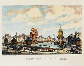 French Art Print, Port of Honfleur, French Engraving, Nautical Seaport, Vintage Wall Hanging, Travel Souvenir, French Country Decor