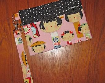 Wrist Strap Zippered Pouch Japanese Kokeshi Doll Design