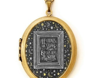 Art Locket - Chalkboard Art Locket Necklace - Inspirational Quote Jewelry - He Counts The Stars And Calls Them All By Name
