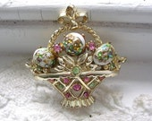 Vintage Rhinestone Pin Flower Brooch Basket Glass Eggs Gold Plated Pink Green White Floral Pin Brooch