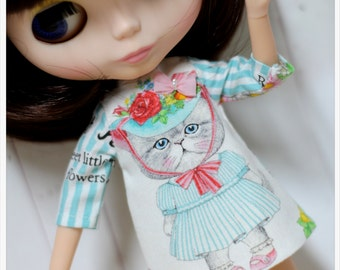 LADYBIRD HOUSE Blythe Outfit Blue Stripe Cat Dress