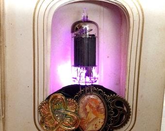 Art Nouveau jewelry - light up vacuum tube brooch - LED jewelry - glow in the dark pink LED steampunk brooch - Alphonse Mucha jewelry