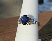 70% OFF Going Out of Business Sale.. Last One. Large Dark Blue Iolite Ring - Sterling Silver Size 7