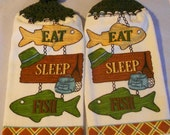 Fisherman theme crochet top towel set Fishing Theme Handle Top Kitchen Towel Set  Granny Kitchen Towel Hand Towel Set